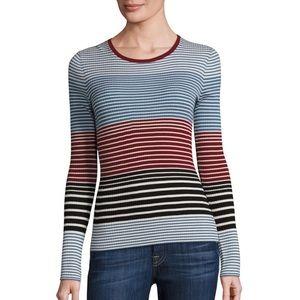 Theory Mirzi Saint Refine stripe wool sweater top